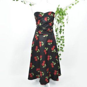 Stop Staring! rose black floral gown maxi dress 2X